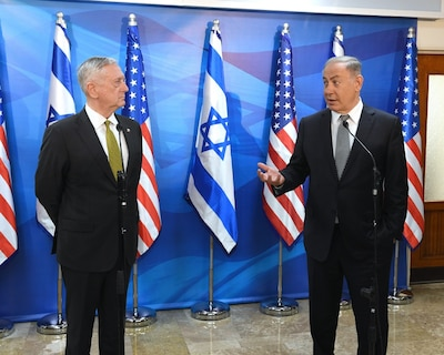 Defense Secretary Jim Mattis, who arrived in Israel April 20, was received by a full honor guard of Israeli soldiers at the Ministry of Defense and military headquarters in Tel Aviv, Israel, April 21, 2017. Mattis met with Israeli Defense Minister Avigdor Lieberman and other senior officials. Later, Mattis met separately with Israeli Prime Minister Benjamin Netanyahu in Jerusalem, pictured at right. U.S. Embassy Tel Aviv photo by Matty Stern