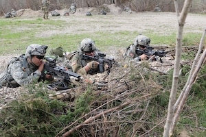 Soldiers from C Co. 1-293rd Infantry Battalion, 76th Infantry Brigade Combat Team, 'Nighthawks,' Indiana Army National Guard, pull security while bunkered down in the defense April 10, 2017, during the Spring Field Training Exercise in preparation for Joint Readiness Training Center rotation, #JRTC, later this summer.