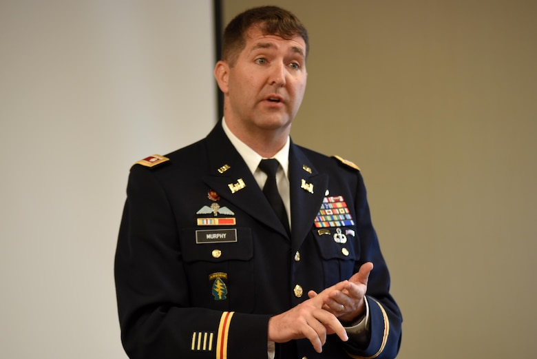 Lt. Col. Stephen Murphy, U.S. Army Corps of Engineers Nashville District commander, welcomes more than 100 hydropower experts to the 40th Annual Joint Hydropower Conference April 19, 2017 at the Inn at Opryland in Nashville Tenn.