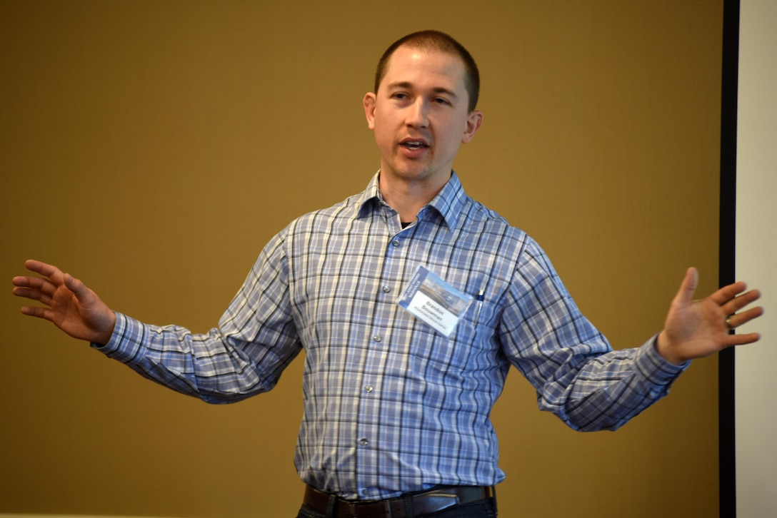 Brandon Bouwman, electrical engineer with the U.S. Army Corps of Engineers Hydropower Design Center in Portland, Ore., shares information about hydro generator model validation April 19, 2017 at the 40th Annual Joint Hydropower Conference in Nashville Tenn.