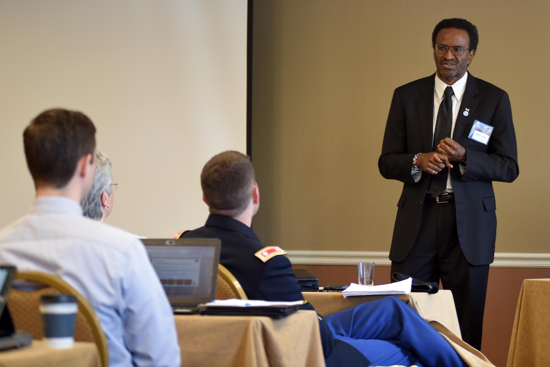 Kamau Sadiki, U.S. Army Corps of Engineers Hydropower Business Line manager, addresses the importance of holding hydropower reliability at a high and sustainable level during the 40th Annual Joint Hydropower Conference April 19, 2017 in Nashville Tenn.