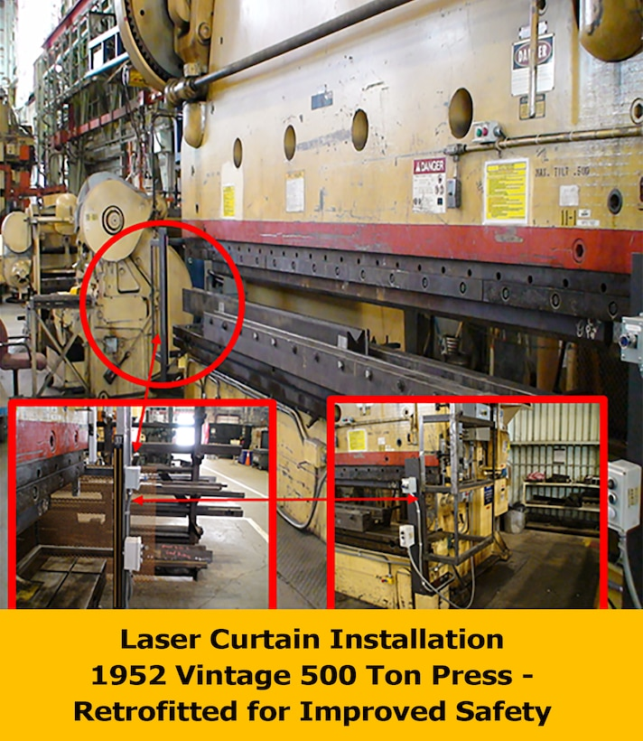 This image shows a laser curtain that was installed on a 500-ton Cincinnati Press Brake due to a recommendation by a team member. Several AEDC craft workers were involved with the installation. The press brake is used to bend steel plates up to three-quarters of an inch thick and 14-feet long. The safety concern for the apparatus is that the press uses large flywheels and once it is triggered, it can't be easily stopped. If a person comes into close proximity to the moving parts, they could be injured. (AEDC photo)