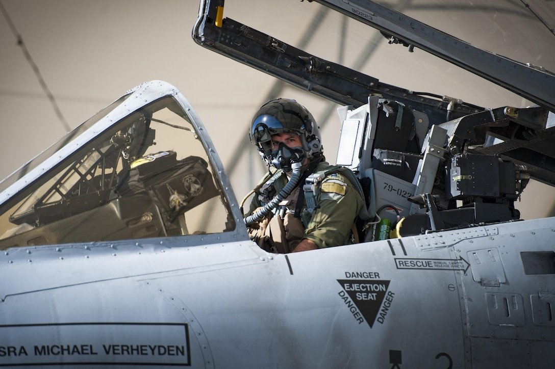 Capt. Andrew Nemethy, 74th Fighter Squadron pilot, prepares for take-off during a natural disaster exercise, April 19, 2017, at Moody Air Force Base, Ga. The exercise tested the wing's ability to evacuate aircraft, secure assets and respond to emergency situations in the event of a real-world natural disaster. (U.S. Air Force photo by Airman 1st Class Lauren M. Sprunk)