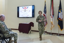 Maj. Gen. Megan P. Tatu, U.S. Army Reserve Command chief of staff, gives her remarks to Soldiers and civilians at the USARC headquarters at Fort Bragg, N.C., April 21, 2017, as they celebrate 109th anniversary of the of the U.S. Army Reserve. Created in 1908 as the Medical Reserve Corps, America's Army Reserve of today has transformed into a capable, combat-ready, and lethal Federal reserve force in support of the Army at home and abroad. (U.S. Army Reserve photo by Timothy L. Hale)(Released)