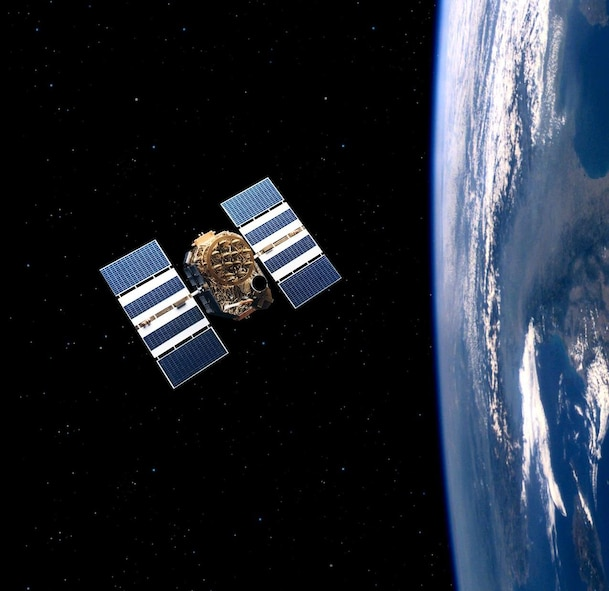 An artist's rendering of the GPS Block IIA. (Courtesy graphic)