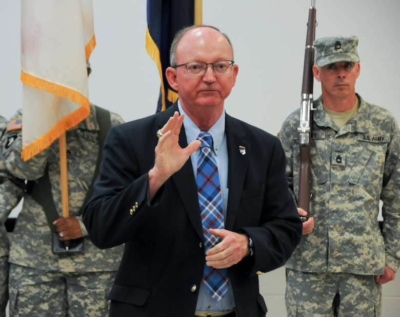 Retired Maj. Gen. William D. Razz Waff, who served as commanding general of the U.S. Army Reserve's 99th Regional Support Command from 2010-2013, serves as guest speaker during the 99th RSC Army Superior Unit Award ceremony April 21 at the command's headquarters on Joint Base McGuire-Dix-Lakehurst, New Jersey. The 99th RSC received the award for providing aid and assistance from October 2012 to April 2013 to communities in New York City that were devastated by Superstorm Sandy.
