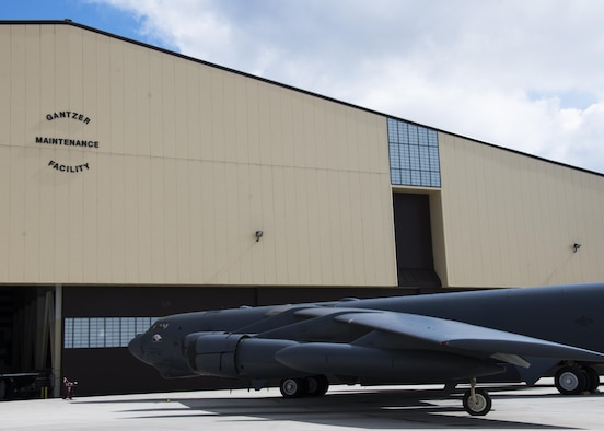 A B-52H Stratofortress sits outside of the Gantzer Maintenance Facility at Minot Air Force Base, N.D., April 21, 2017. Previously Dock 8, the hangar was renamed in honor of Chief Master Sgt. Fredrick Gantzer, an Airman who served for 31 years with over a decade at Minot AFB. (U.S. Air Force photo/Airman 1st Class Alyssa M. Akers)