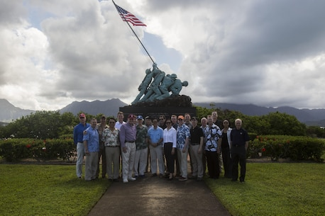 Faculty from the Massachusetts Institute of Technology and Stanford University pose for a photo at the Pacific War Memorial aboard Marine Corps Base Hawaii on April 13, 2017. The group visited the base to build a better understanding of how the military operates in the Pacific. (U.S. Marine Corps photo by Lance Cpl. Isabelo Tabanguil)