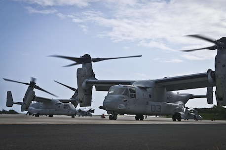 "MV-22 Osprey aircraft with Marine Medium Tiltrotor Squadron (VMM) 268, 1st Marine Aircraft Wing, also known as the ""Red Dragons', depart from Marine Corps Base Hawaii to begin their deployment to Australia in support of Marine Rotational Force - Darwin, April 19, 2017. This marks the first transatlantic flight from Hawaii to Australia for the aircraft and the deployment for VMM-268 since the squadron move from MCAS Miramar, Calif., to Hawaii. (U.S. Marine Corps photo by Cpl. Aaron S. Patterson/Released)"