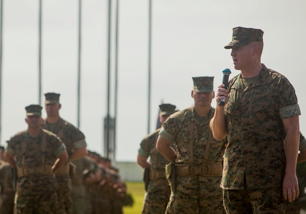 Sgt. Maj. Michael J. Pritchard, addresses attendees during a relief and appointment ceremony on Camp Foster, Okinawa, Japan, April 21, 2017. Relief and appointment ceremonies are part of the Marine Corps' tradition in passing leadership from one to another. During the ceremony, Pritchard, from Keene, New Hampshire, was appointed sergeant major of 1st Marine Aircraft Wing, III Marine Expeditionary Force. Sgt. Maj. Mario A. Marquez, from Lakewood, California, was the previous sergeant major of 1st MAW. (U.S. Marine Corps photo by Lance Cpl. Jonah Baase)