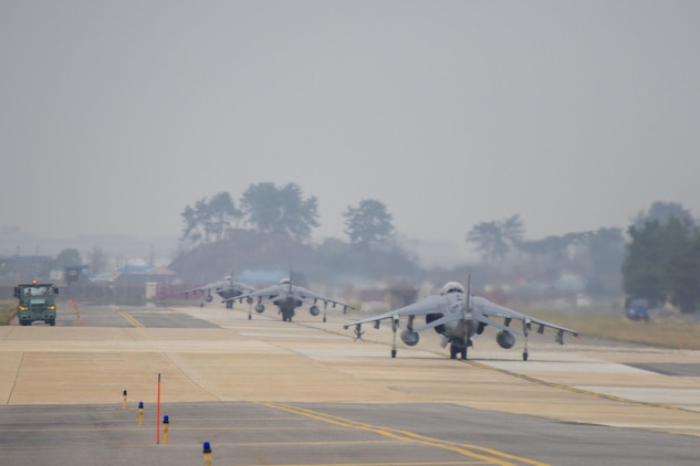 U.S. Marine AV-8B Harriers taxi down the runway during Exercise MAX THUNDER 17 at Kunsan Air Base, Republic of Korea, April 18, 2017. Max Thunder serves as an opportunity for U.S. and ROK forces to train together and sharpen tactical skills for the defense of the Asia-Pacific region. It is an annual military-flying exercise built to promote interoperability between U.S. and ROK forces. (U.S. Marine Corps photo by Lance Cpl. Carlos Jimenez)