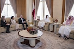 Defense Secretary Jim Mattis meets with Qatar's Emir Sheikh Tamim bin Hamad Al Thani at the Sea Palace in Doha, Qatar, April 22, 2017. Sitting to Mattis' left is his advisor, Sally Donnelly, and Dana Smith, U.S. ambassador to Qatar. DoD photo by Air Force Tech. Sgt. Brigitte N. Brantley