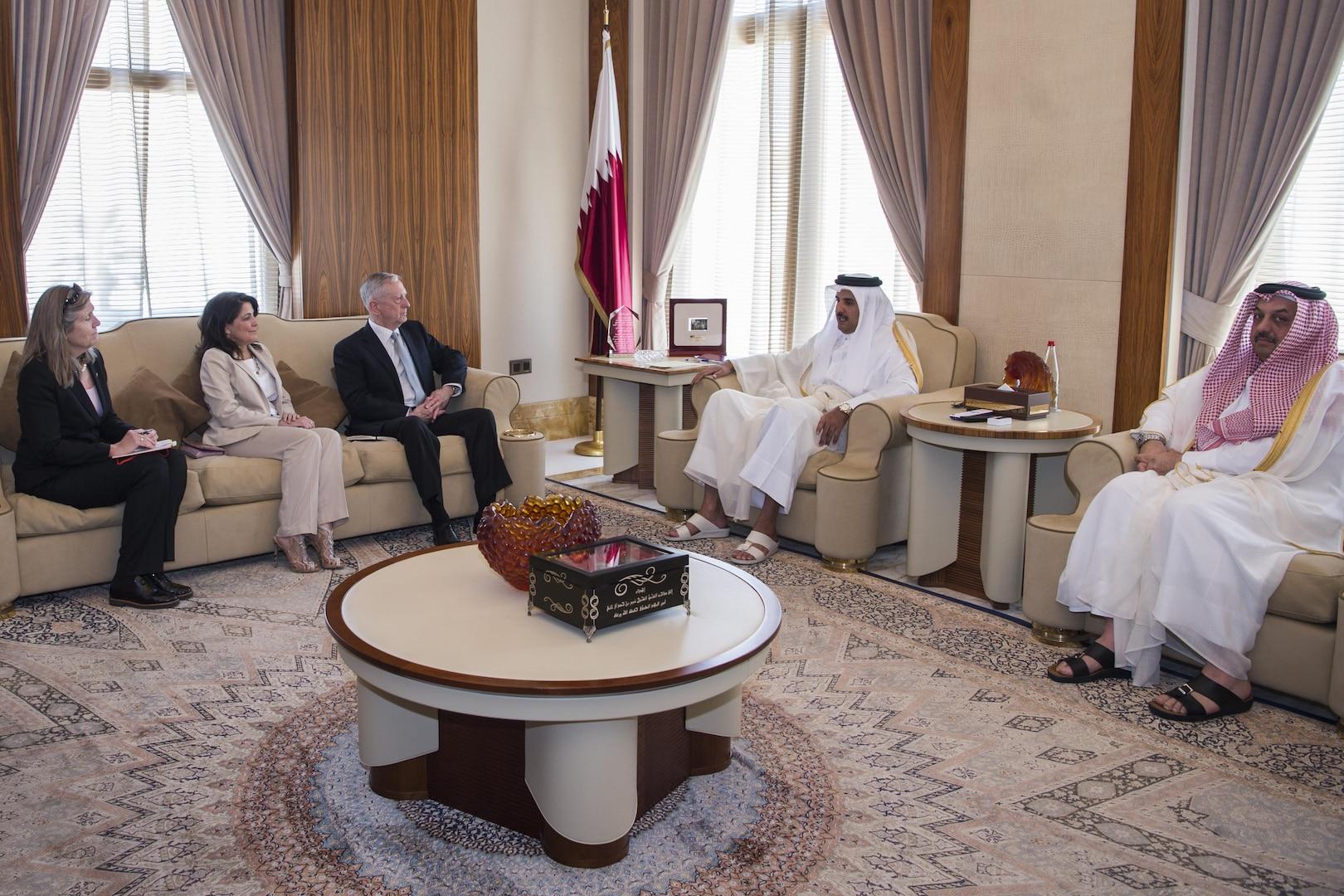 Defense Secretary Jim Mattis meets with Qatar's Emir Sheikh Tamim bin Hamad Al Thani at the Sea Palace in Doha, Qatar, April 22, 2017. Sitting to Mattis' left are his advisor, Sally Donnelly, and Dana Smith, U.S. ambassador to Qatar. DoD photo by Air Force Tech. Sgt. Brigitte N. Brantley