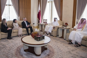 Defense Secretary Jim Mattis meets with Qatar's Emir Sheikh Tamim bin Hamad Al Thani at the Sea Palace in Doha, Qatar, April 22, 2017. Sitting to Mattis' left are his advisor, Sally Donnelly, and Dana Smith, U.S. ambassador to Qatar. DoD photo by Air Force Tech. Sgt. Brigitte N. Brantley