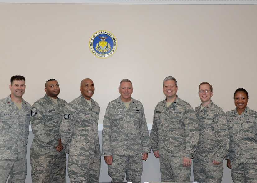 The 14th Flying Training Wing Chapel team stands with Chaplain (Brig. Gen.) Schiack, Deputy Chief of Chaplains, April 19, 2017, at Columbus Air Force Base, Mississippi.