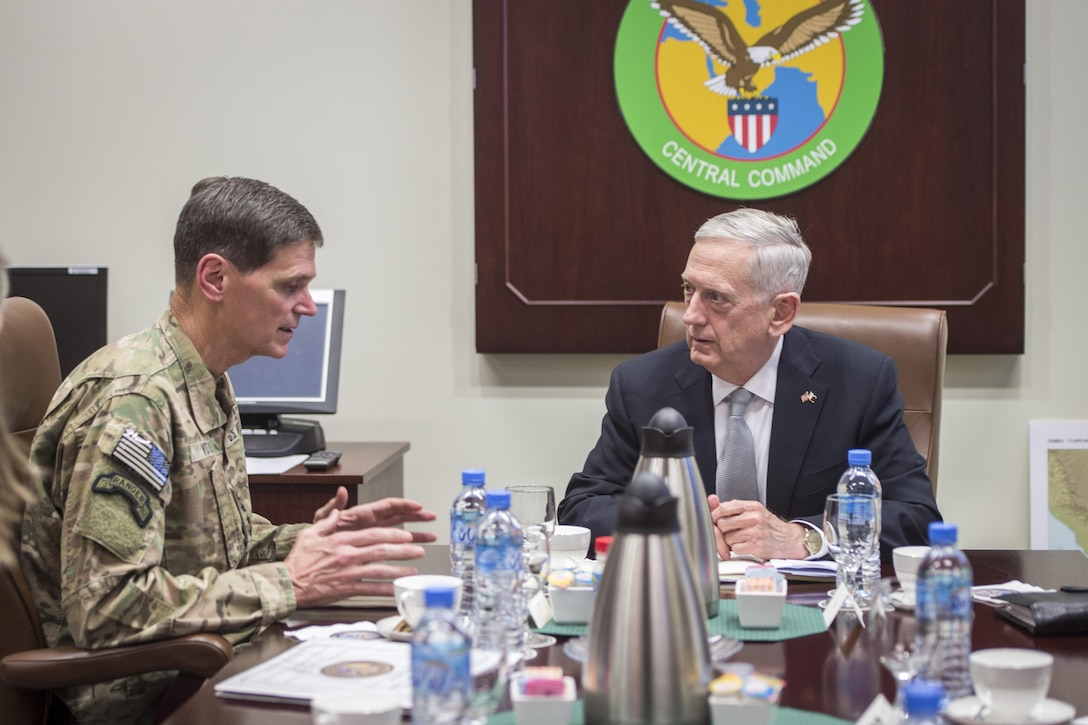 Defense Secretary Jim Mattis meets with Army Gen. Joseph Votel, commander of U.S. Central Command, at Centcom's Forward Headquarters at Al Udeid Air Base in Qatar, April 22, 2017. DoD photo by Air Force Tech. Sgt. Brigitte N. Brantley