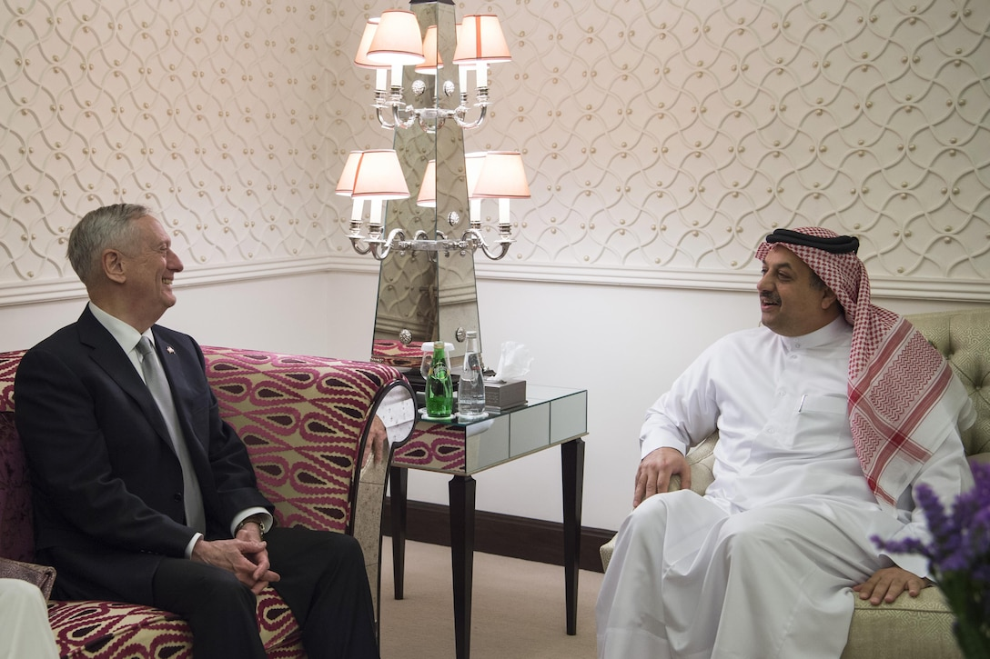 Defense Secretary Jim Mattis attends a bilateral meeting with Qatari Defense Minister Khalid bin Mohammed al-Attiyah