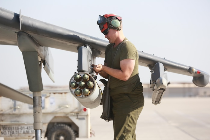 U.S. Marine Corps Cpl. Patrick Poore, an aviation ordnance technician deployed in support of Combined Joint Task Force – Operation Inherent Resolve, assigned to Marine Attack Squadron 231, Special Purpose Marine Air-Ground Task Force-Crisis Response-Central Command, conducts pre-flight checks, Feb. 27, 2017. SPMAGTF-CR-CC continues its commitment to support OIR and USCENTCOM through employment of kinetic air strike missions, security cooperation and crisis response assets within the region. CJTF-OIR is the global Coalition to defeat ISIS in Iraq and Syria. (U.S. Marine Corps photo by Staff Sgt. Jennifer B. Poole)
