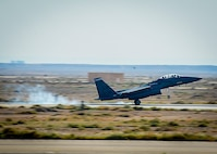 An F-15E Strike Eagle lands at an undisclosed location in Southwest Asia, April 7, 2017. The jet is deployed from the 492nd Fighter Squadron at RAF Lakenheath, England. The 492nd Expeditionary Fighter Squadron has taken over for the 389th EFS that was deployed to the 332nd Air Expeditionary Wing for the last six months. (U.S. Air Force photo by Tech Sgt. Eboni Reams)
