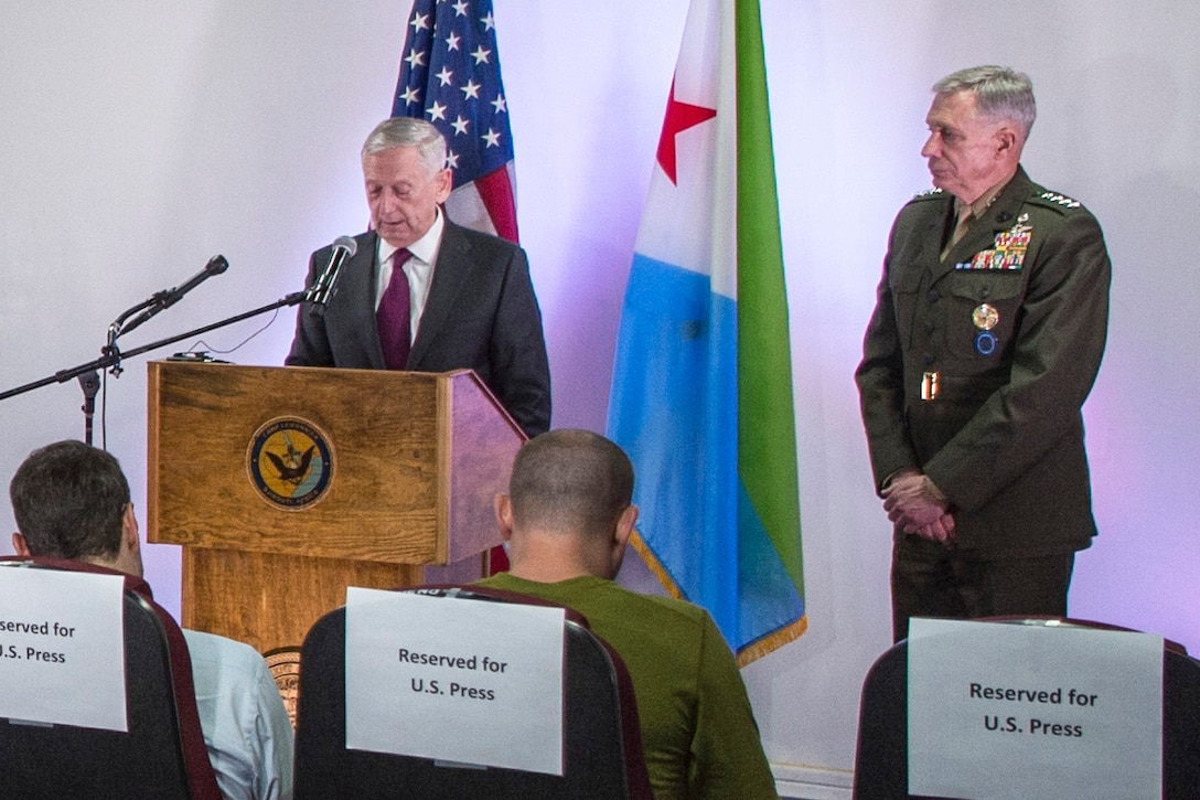 Defense Secretary Jim Mattis hosts a joint news conference with Marine Corps Gen. Thomas D. Waldhauser