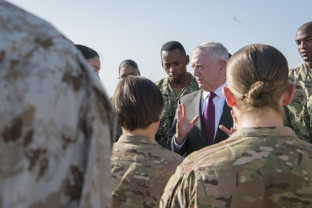 Defense Secretary Jim Mattis meets with troops stationed at Camp Lemmonier, Djibouti, April 23, 2017. DoD photo by Air Force Tech. Sgt. Brigitte N. Brantley