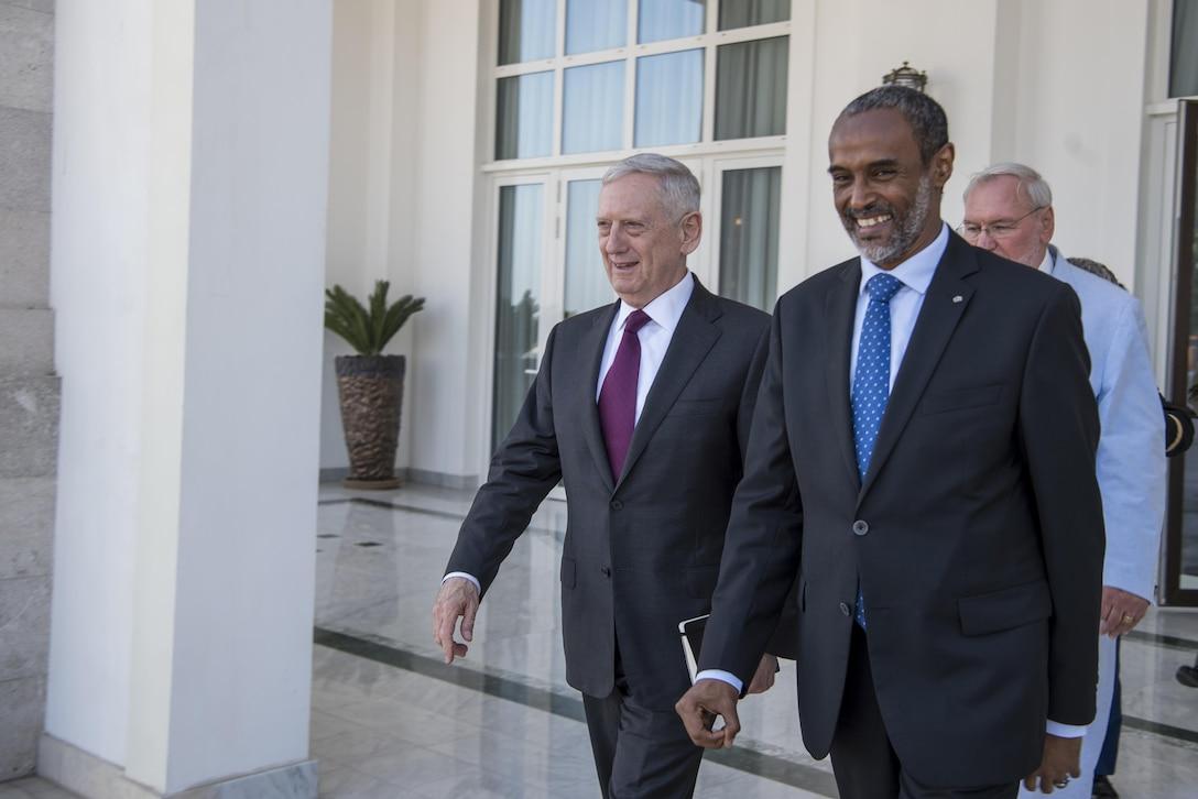 Defense Secretary Jim Mattis meets with Djiboutian Defense Minister Ali Hasan Bahdon