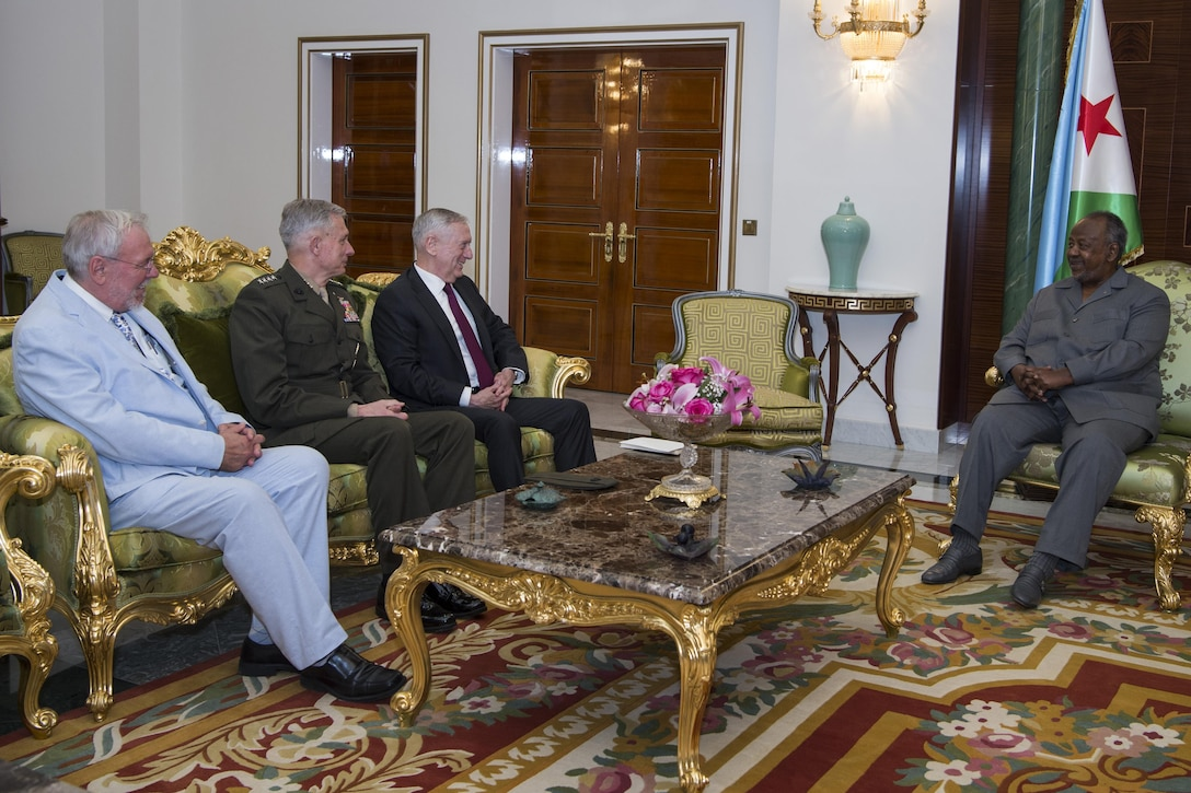 Defense Secretary Jim Mattis meets with Djiboutian President Ismail Omar Guelleh
