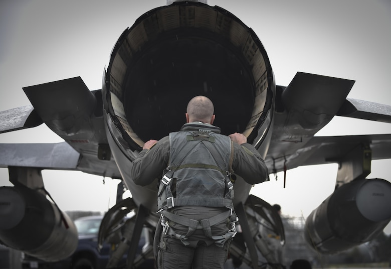 Lt. Col. Matthew Kenkel, the 14th Fighter Squadron director of operations inspects the exhaust nozzle and augmenter area of an F-16 Fighting Falcon prior to the start of of a bilateral exercise at Misawa Air Base Japan, April 19, 2017. The regularly scheduled exercise has been planned for several months. It is another key opportunity for the Air Force and Japan Air Self- Defense Forces to practice combat capabilities together. (U.S. Air Force photo by Staff Sgt. Melanie A. Hutto)
