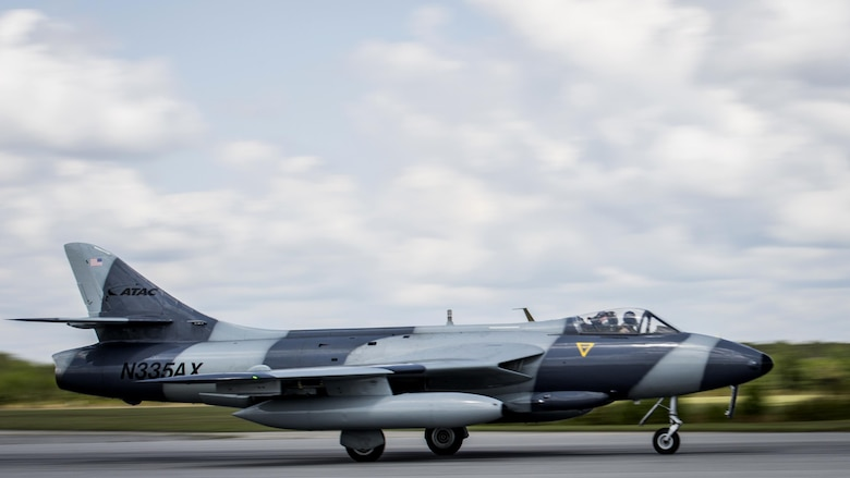 A MK-58 Hawker Hunter prepares to take off at Marine Corps Air Station Beaufort, South Carolina, June 27, 2017. The aircraft is visiting Fightertown to participate in training operations with tenant squadrons. The Hawker Hunter is with the Airborne Tactical Advantage Company. Marine Fighter Attack Training Squadron utilized ATAC to train their pilots in anti-aircraft warfare. ATAC provided the adversary air presentation for VMFAT-501. The Hawker is with ATAC.