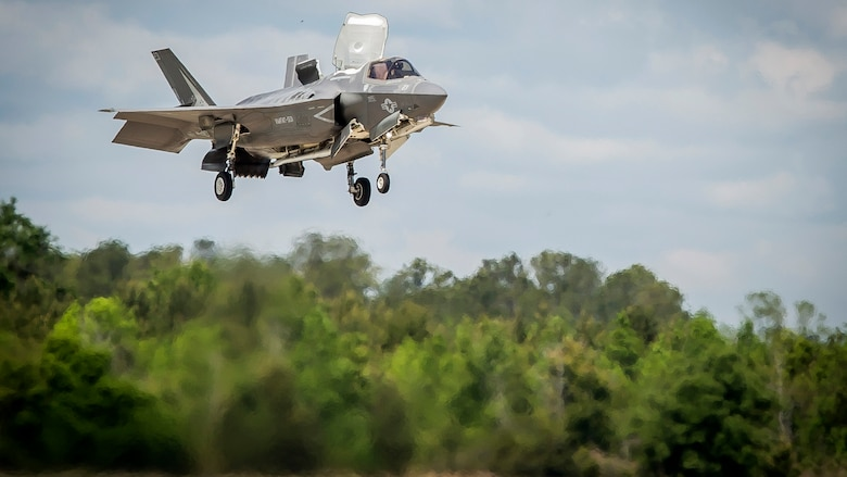 An F-35B Lighting II aircraft prepares to land during a training exercise with Airborne Tactical Advantage Company at Marine Corps Air Station Beaufort, April 14, 2017. Marine Fighter Attack Training Squadron utilized ATAC to train their pilots in anti-aircraft warfare. ATAC provided the adversary air presentation for VMFAT-501. The F-35B is with VMFAT-501.