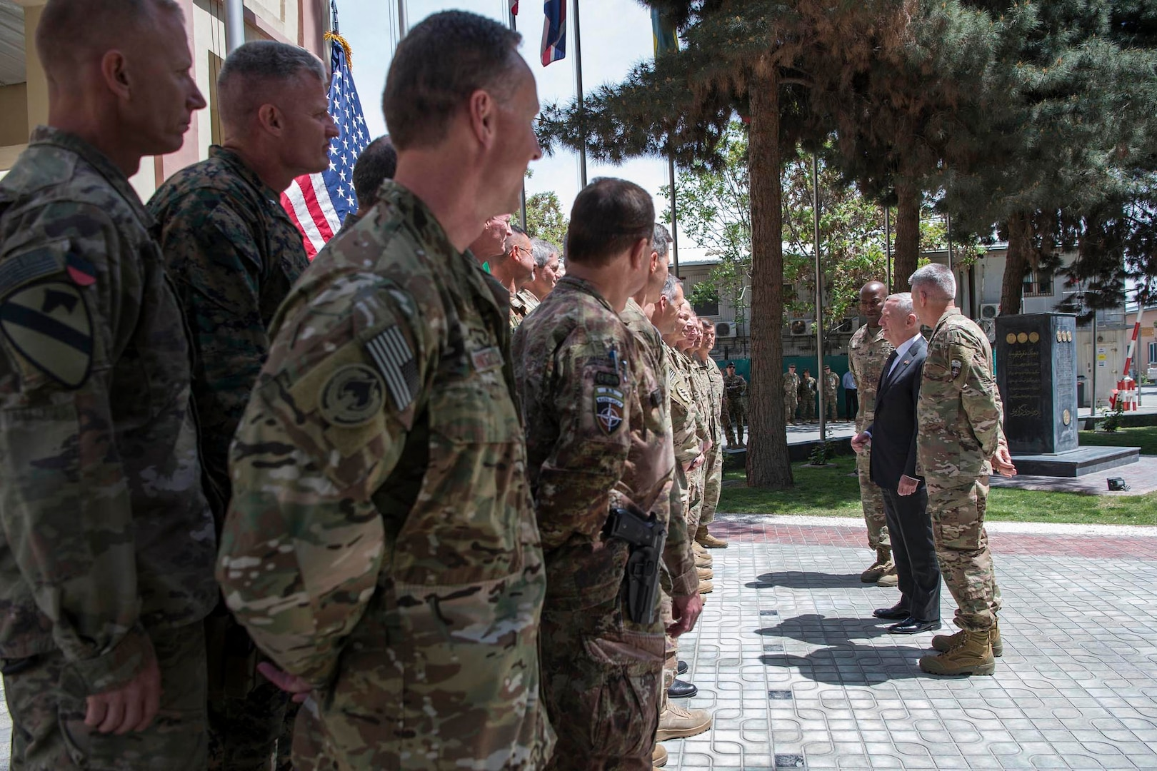 Defense Secretary Jim Mattis and Army Gen. John Nicholson, Resolute Support commander, meet with some of the mission's senior leaders and commad staff at the Resolute Support Headquarters in Kabul, Afghanistan, April 24, 2017. DoD photo by Air Force Tech. Sgt. Brigitte N. Brantley