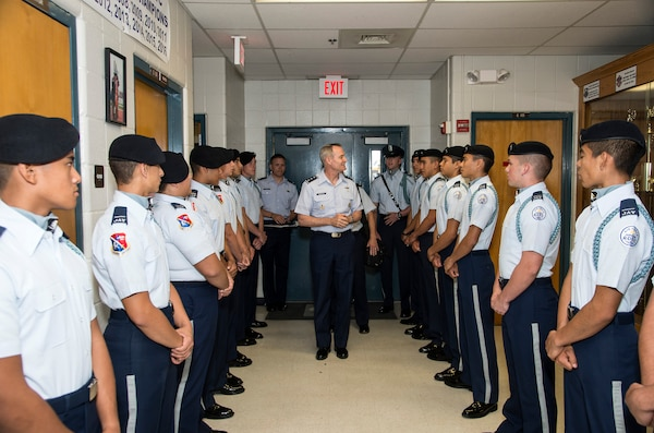 U.S. Air Force Lt. Gen. Darryl Roberson, commander Air Education and Training Command meets Junior Reserve Officer Training Corps cadets April 19 at John Jay High School in San Antonio, Texas. Roberson was inducted as an honorary Silver Eagle, making him the fourth person to receive the honorary title. (U.S. Air Force photo by Johnny Saldivar)