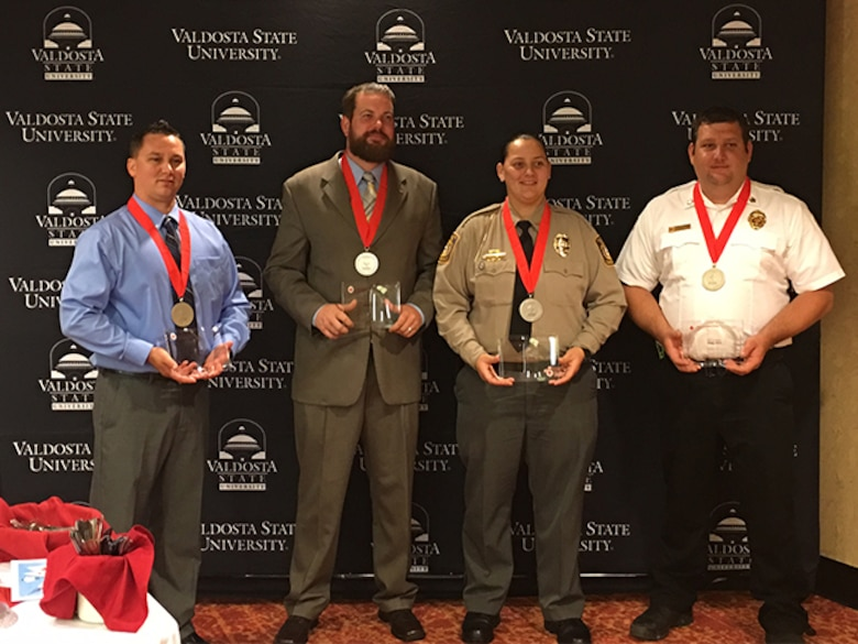 Staff Sgt. Joshua Dunn, 23d Component Maintenance Squadron aerospace propulsion craftsman, poses with fellow nominees during the American Red Cross of South Georgia Hero Awards, March 27, 2017, in Valdosta, Ga. Dunn was nominated for the Military Hero honors for safely removing passengers from a car accident until first responders arrived, Feb. 3, in Valdosta. (Courtesy photo)