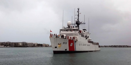 The Coast Guard Cutter Mohawk pulls into port April 22, 2017, in Key West, Florida, following a three-month patrol in the Eastern Pacific. The cutter seized approximately 12,000 kilograms of cocaine with an estimated street value of over $390 million. (Coast Guard photo by Eric D. Woodall)