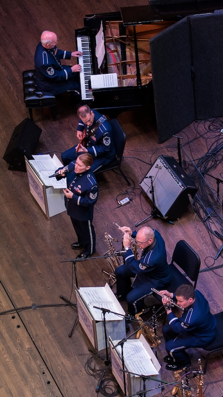 The U.S. Air Force Band Airmen of Note perform during a Jazz Heritage Series concert in Alexandria, Va., April 20, 2017. The series began in 1990 and is broadcast to millions each year through the National Public Radio, independent jazz radio stations, satellite radio services and the internet. (U.S. Air Force photo by Airman 1st Class Valentina Lopez)
