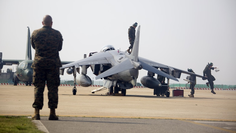 U.S. Marines with Marine Attack Squadron (VMA) 311 inspect and conduct maintenance on an AV-8B Harrier during Exercise MAX THUNDER 17 at Kunsan Air Base, Republic of Korea, April 18, 2017. Max Thunder serves as an opportunity for U.S. and ROK forces to train together and sharpen tactical skills for the defense of the Asia-Pacific region. It is an annual military-flying exercise built to promote interoperability between U.S. and ROK forces.