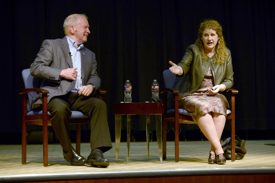 Retired Col. Gary Payton (left) and retired Lt. Gen. Susan Helms share their experiences as astronauts with U.S. Air Force Academy Preparatory School cadet-candidates at the Community Theater, April 18, 2017. (U.S. Air Force photo/Darcie Ibidapo)