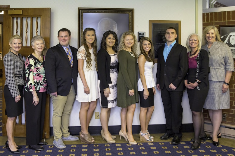 AEDC Woman's Club scholarship recipients are pictured here with the club president, program speaker and scholarship chairpersons.  From left is AEDCWC program speaker Susan Gritton, Ascend Federal Credit Union; scholarship chairperson Kelly Doyle; Coffee County Central High School scholarship recipients Tyler Reynolds and Kelsea Selvage; Tullahoma High School scholarship recipients Samantha Donde and Hannah Luthi; Huntland High School scholarship recipient Candace Hargrave; Franklin County High School scholarship recipient Christian Steele; scholarship chairperson Suzette McCrorey; and AEDCWC president Kate Canady. (Courtesy photo)