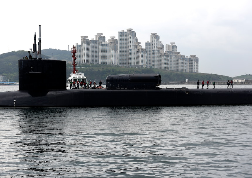 170425-N-WT427-001 BUSAN, Republic of Korea (April 24, 2017) The Ohio-class guided-missile submarine USS Michigan (SSGN 727) arrives in Busan for a regularly scheduled port visit while conducting routine patrols throughout  the Western Pacific. Michigan is the second submarine of the Ohio-class of ballistic missile submarines and guided missile submarines, and the third U.S. ship to bear the name. Michigan is home-ported in Bremerton, Wash. and is forwarded deployed from Guam.  (U.S. Navy photo by Mass Communication Specialist 2nd Class Jermaine Ralliford)