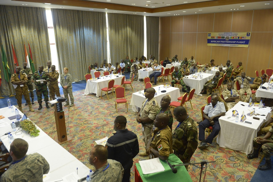African Partnership Flight participants discuss their solutions to a humanitarian assistance and disaster relief scenario in Ouagadougou, Burkina Faso, April 20, 2017. The intent of APF is to build strong transparent partnerships that enhance regional stability and security through formal alliances, partnerships and simple exchanges of information. (U.S. Air Force photo by Staff Sgt. Jonathan Snyder)