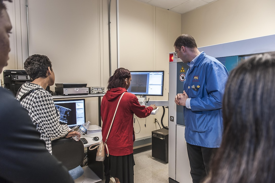 High school students visit DLA's state of the art Testing and Engineering lab for hands-on learning at mechanical and electrical stations during a site visit on Apr. 20.