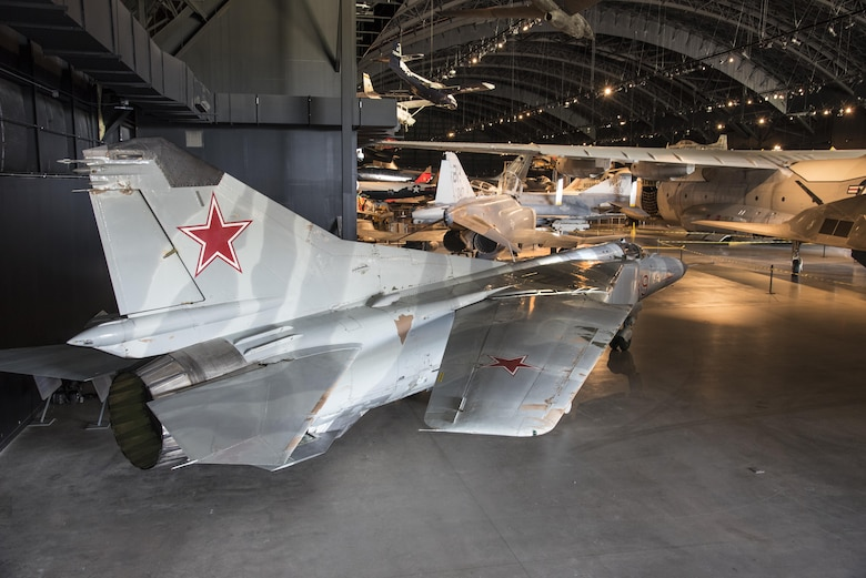 "DAYTON, Ohio -- The Mikoyan-Gurevich MiG-23MS ""Flogger-E"" on display in the museum's Cold War Gallery. (U.S. Air Force photo by Ken LaRock)"