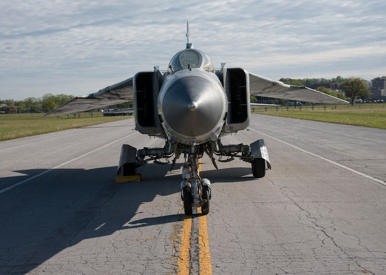 """DAYTON, Ohio -- The Mikoyan-Gurevich MiG-23MS """"Flogger-E"""" moved into the museum's Cold War Gallery on April 25, 2017. (U.S. Air Force photo by Ken LaRock)"""