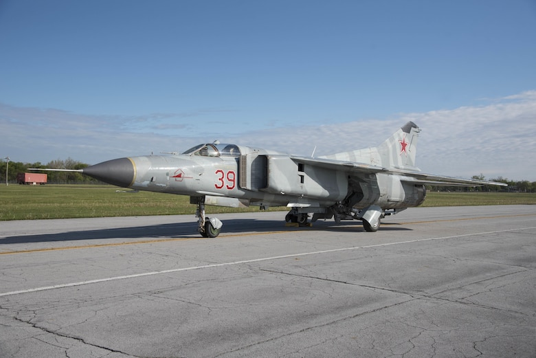 "DAYTON, Ohio -- The Mikoyan-Gurevich MiG-23MS ""Flogger-E"". (U.S. Air Force photo by Ken LaRock)"