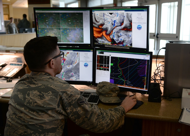 Airman Connor McDonald, 5th Operations Support Squadron weather forecaster, monitors the weather conditions via satellite at Minot Air Force Base, N.D., April 18, 2017. The 5th OSS weather forecasters create and tailor data to flying and ground assets. (U.S. Air Force photos/Airman 1st Class Dillon Audit)