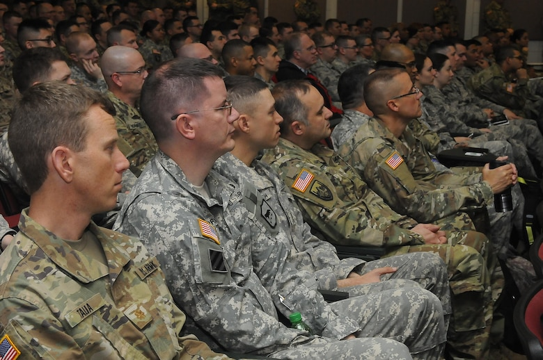 Members of the Air National Guard, Army National Guard and Army Reserve, receive the introductory brief for Cyber Shield 17 at Camp Williams, April 24, 2017. Cyber Shield 17 is an Army National Guard Defensive Cyberspace Operations exercise, with participation of approximately 800 members of the Air National Guard, United States Army Reserve, state and federal government agencies, industry partners, and academia.