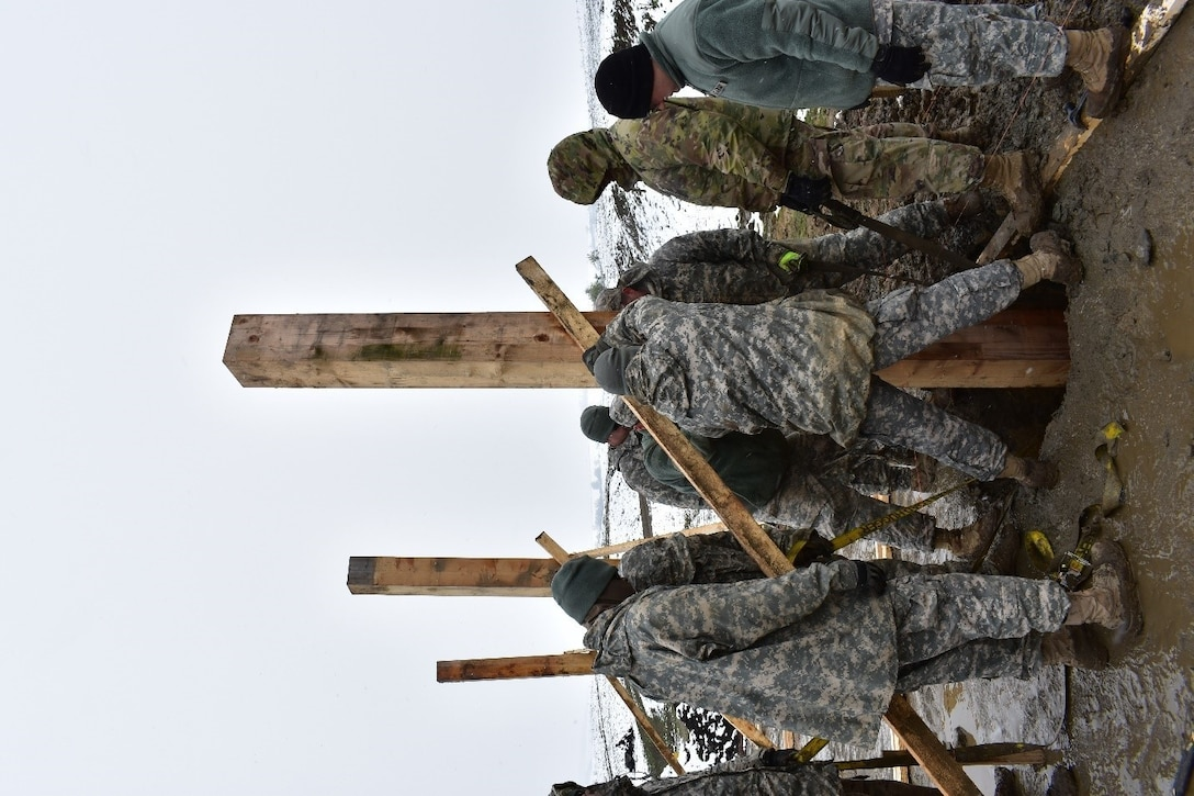 Soldiers of 1223rd Engineer Company, 778th Engineer Battalion, South Carolina Army National Guard, lay and level posts for the Multi-Purpose Covered Shelter at Cincu Training Area, Romania on 21 April 2017. The project is a part of Resolute Castle 17, an exercise which strengthens the NATO alliance and enhances its capacity to quickly respond to threats within the region. (US Army photo by Capt. Colin J. Cutler, 926th Engineer Brigade)