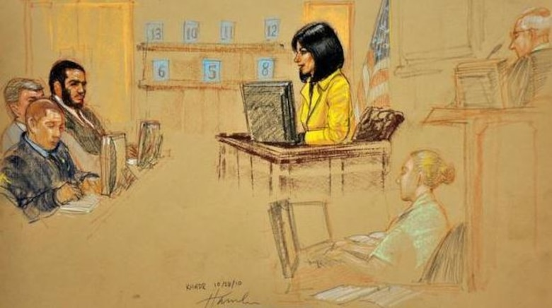 In a Pentagon-approved photograph of a sketch by artist Janet Hamlin, Arlette Zinck testifies during a military commission trial of Omar Khadr on Oct. 28, 2010 in Guantanamo Bay, Cuba. Staff Sgt. Sarah Hawley is the court reporter depicted in the drawing.