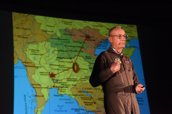 Retired Col. Marty Mahrt speaks about his triumphs and close calls during his time in North Vietnam during the Leaders Inspiring for Tomorrow Summit Apr. 21, 2017, at Fairchild Air Force Base, Washington. The LIFT conference and engagement showcased 18 featured storytellers over a single-day who shared their stories of inspiration, innovation, character and leadership. (U.S. Air Force photo/Tech. Sgt. Travis Edwards)