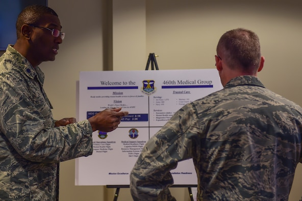 Lt. Col. Alvin Scott, 460th Medical Support Squadron commander, briefs Brig. Gen. James Burks, Director, Manpower, Personnel, and Resources Corps Chief, Medical Service Corps, about the stance of the 460th Medical Group April 25, 2017, on Buckley Air Force Base, Colo. Burks toured the medical facilities on base and was briefed the status of each unit. (U.S. Air Force photo by Airman Jacob Deatherage/Released)